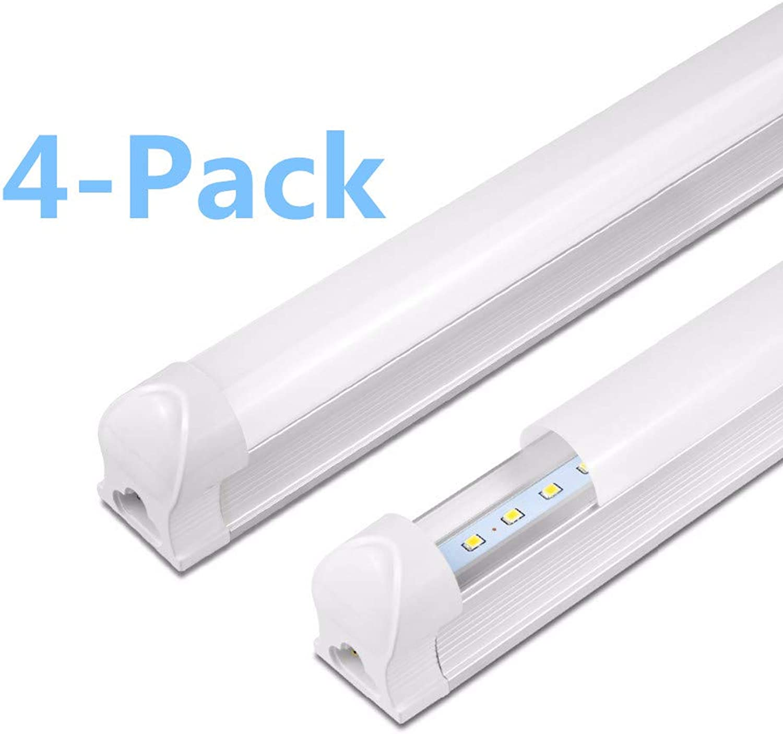 LED-Innenleuchten T8, integrierte Rhre mit Befestigung, für Zuhause, Büro, Geschft, Fabrik, 24 Watt (48 W EQV), kaltwei, 6500 Kelvin mattiert, 4 Stück