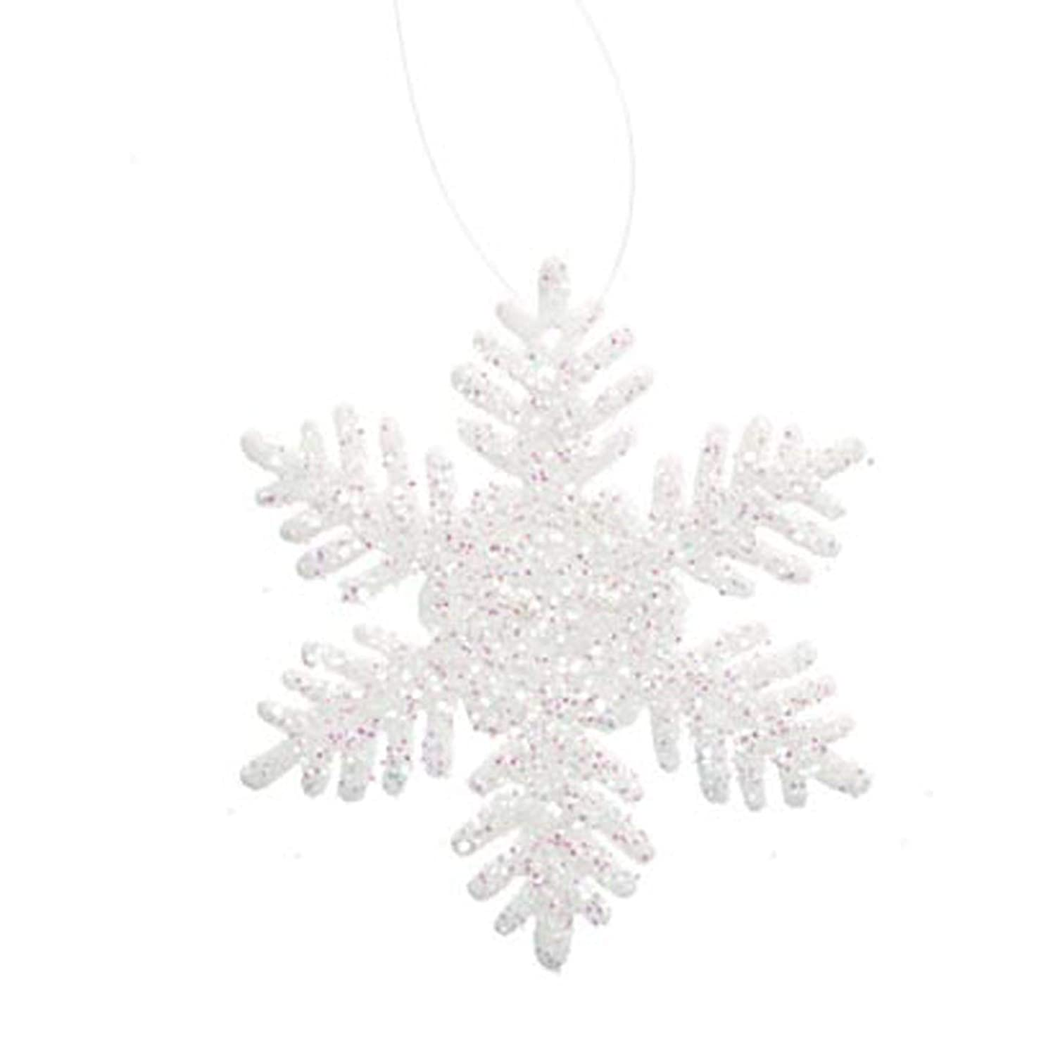 Bulk Buy: Darice DIY Crafts Glitter Snowflake White 2 inches 12 pieces (3-Pack) 2469-35
