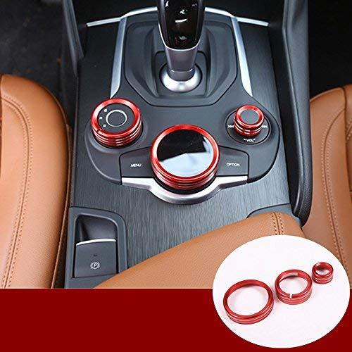 YIWANG Accesorios de aleación de aluminio para interior de control central multimedia, anillo de decoración, marco de 3 piezas para Giulia Stelvio 2017-2020 accesorios de coche (rojo)