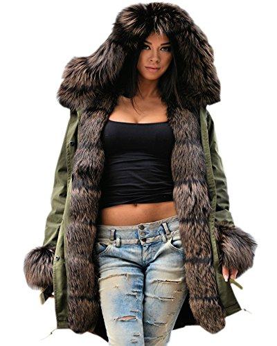 Roiii Damen Wintermantel Kunstpelz Kapuze Parka Trenchcoat Jacke Lange Outwear Größe S-XXXL (X-Large,201706 Grün)