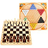 Best Chinese Checkers Game Sets - Lewo 2 in 1 Wooden Chess Set Chinese Review
