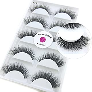 Luxurious 100% Siberian Mink Fur 3D False Eyelash LASGOOS Degisn Natural Messy Corner Thick Volume Fluffy Soft Fake Eyelashes 5 Pairs/Box (A19)