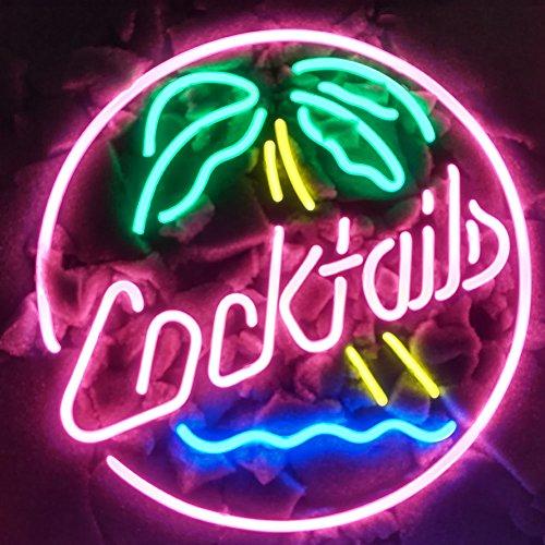 Cocktails Palm Tree Echtglas Neon Light Sign Home Bier Bar Kneipe Erholung Raum Spiel Windows der Garage Store (43,2x 35,6cm den großen)