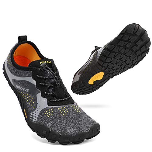 ALEADER hiitave Men/Womens Minimalist Barefoot Trail Running Shoes Wide Toe Glove Cross Trainers Hiking Shoes Black/Gray/Yellow US 10/10.5 Women, US 9 Men