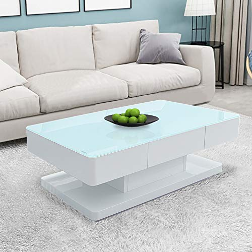 CLIPOP High Gloss White Coffee Table 8 MM Tempered Glass Top Side Table with 2 Storage Drawers for Home Living Room Office Furniture,100 x 60 x 35 cm (Clear top)