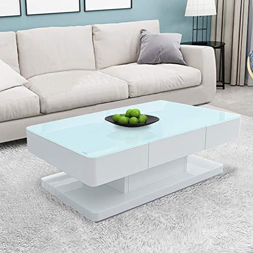 CLIPOP Couchtisch, Hochglanz, 8 mm, Tischplatte aus gehärtetem Glas, mit 2 Schubladen, für Zuhause, Wohnzimmer, Büro, Möbel, 100 x 60 x 35 cm (transparente Oberfläche)