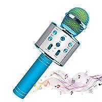 ワイヤレスマイクカラオケ、ブルートゥーススピーカー、iOSおよびAndroidスマートフォンに対応、歌唱と録音のための優れたオーディオ品質、音楽パーティー/ギフトキッズ