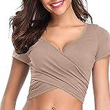 YEBIRAL Sexy Oberteil Damen V-Ausschnitt Kurzarm Shirt Wickelbluse Push up Sommer Oberteil Bauchfrei Tops Einfarbig T-Shirt(EUR-34/CN-XS,Khaki)