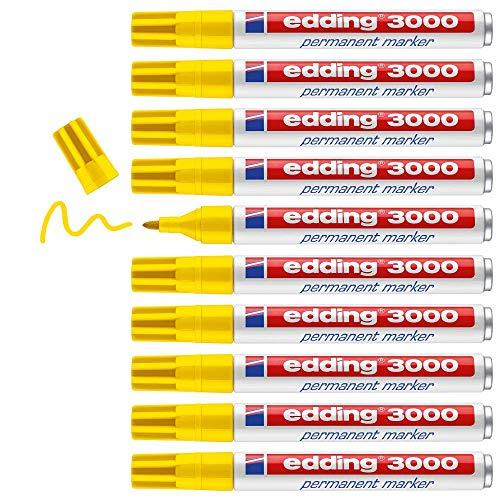 Edding 3000 marcador permanente - amarillo - 10 rotuladores - punta redonda 1.5-3 mm - indeleble de secado rápido - resistente al agua y a los borrones - cartón, plástico, madera, metal - universal