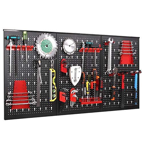 Panel para Herramientas de Metal 17 Piezas, 120 x 60 cm, Organizador y Soporte para Pared de Multiusos, Tablero Perforado