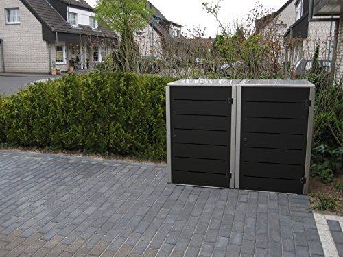 Mülltonnenbox Edelstahl, Modell Eleganza Line, 240 Liter, Zweierbox, in Granitgrau RAL 7026