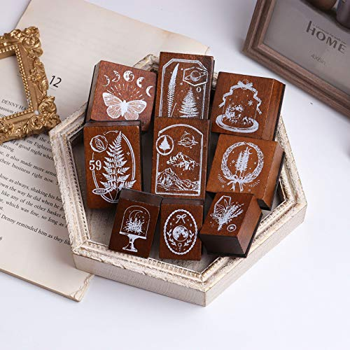 Wooden Rubber Stamp Set, NogaMoga 10pcs Retro Wood Stamps with Fern Leaf Moon Phase Butterfly Pinewood Patterns, Vintage Journal Decorative Stamps for DIY Craft, Scrapbooking, Gift Wrapping and Cards