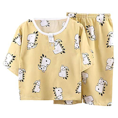 DEBAIJIA Niños Pijama 0-8T Bebé Ropa de Dormir Infantil Homewear Niña Ropa Casual Niño Animado Lindo Algodón Verano Conjuntos (Amarillo-100