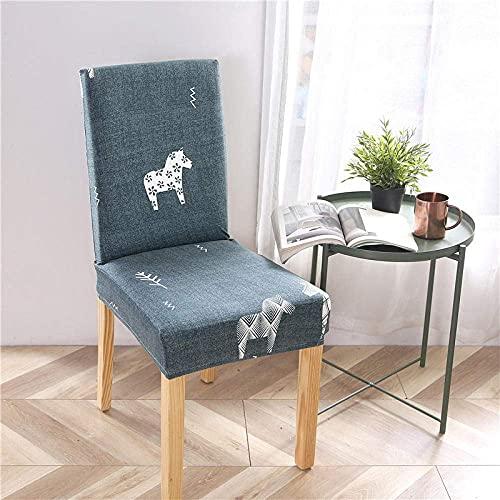 Fundas para sillas 4 Piezas Fundas para sillas con Respaldo Caballo Lindo Verde Fundas para sillas universales Fundas para sillas elásticas Muy fáciles de Limpiar y duraderas par