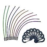 WAPAG Mosqueton Llaveros Alambre Cable 15cm Llavero de Acero Inoxidable 1.5mm Barril de Giro para Colgar Etiquetas de Equipaje Llaveros y Guardianes de Etiquetas de Identificación (10color+10negro)