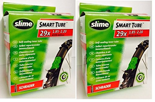2 x Slime Bike Inner Tubes 29 x 185 2125 Mountain Bikes Schrader Valves Slime Filled To Instantly Seal And Repair Punctures