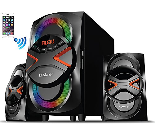 Boytone BT-326F, 2.1 Bluetooth Powerful Home Theater Speaker System, with FM Radio, SD USB Ports, Digital Playback, 40 Watts, Disco Lights, Full Function Remote Control, for Smartphone, Tablet., Black