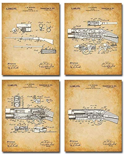 Remington Shotguns Patent Prints - Set of Four Photos (8x10) Unframed - Makes a Great Gift Under $20 for Duck/Deer Hunters