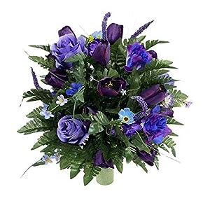 Purple Cemetery Flower Arrangement, Headstone Vase Insert, Grave Vase Cone Arrangement , Cone Insert, Tombstone vase Arrangement, Cemetery Flowers SC919