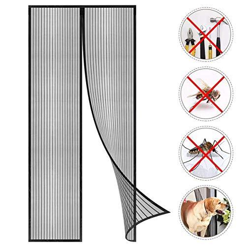 Coedou Cortina Mosquitera Magnética para Puertas, Magnético Puerta de la Pantalla de Insectos, protección de Insectos Mosca Cortina (Negro, 70 x 210 cm)