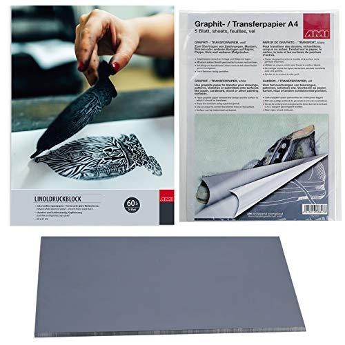 AMI Printbox - Juego de impresión para linóleo (23 x 31 cm, placa blanda y papel de grafito), color blanco