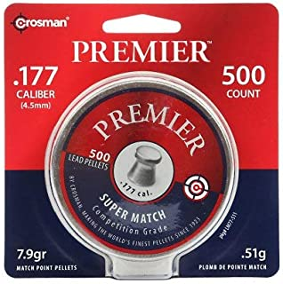 Crosman Premier Match 500 match grade pellets in a tin. LM77
