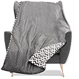 Quility Weighted Blanket with Soft Cover - 15 lbs Twin Size Heavy Blanket for Adults - Heating & Cooling, Machine Washable - (48' X 72') (Dark Grey + White Pattern)