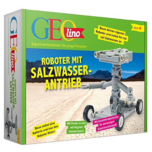 FRANZIS GEOlino Roboter mit Salzwasserantrieb | Chemische Prinzipien einfach erklärt | Einfach auftanken und losgehts | Ab 8 Jahren