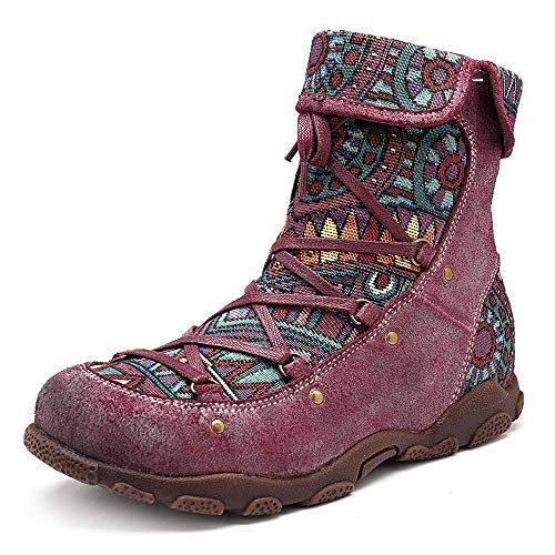 SOCOFY Genuine Leather Splicing Jacquard Pattern Zipper Ankle Boots Wine Red / 5
