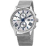 Akribos Multifunction Chronograph Watch - 2 Sub-Dials Complications Quartz With Date Window On Mesh Bracelet Men's Watch - AK905