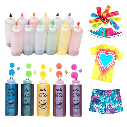 Tulip One-Step Tie-Dye Kit One-Step Tie Kit, Rainbow DIY, Fun, Non-Toxic Fabric, Easy Activity for Large Groups, Party Supplies, Bundle Includes 12 Bottles of Vibrant Dye Colors