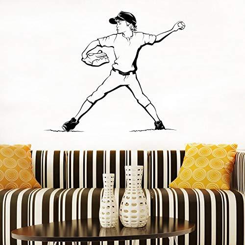 hetingyue persoonlijke muurtattoo, voor jongens, baseball, sport, zelfklevend, vinyl, decoratie voor slaapkamer, speelkamer, deur, raam, decoratie