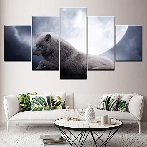 MMLFY 5 Tableaux consécutifs Loup et Lune Blanche 5 Pièce HD Fonds d'écran Art Impression sur Toile Moderne Affiche Modulaire Art Peinture pour Salon Décor À La Maison