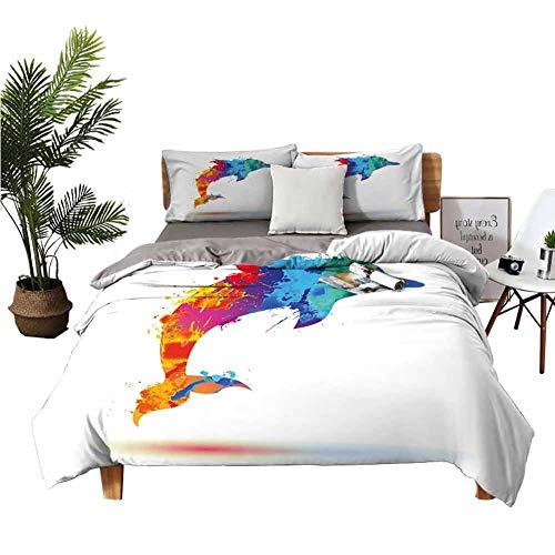 Juego de ropa de cama de Dragon Vines, 4 unidades, para todas las estaciones, sábana de cama de niña, chihuahua, dibujo ilustración con cita, gafas de moda, cintas, color azul claro, verde militar