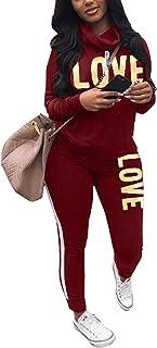 Women's Letter Print 2 Piece Outfits Cowl Neck Long Sleeve Sweatshirt and Pants Set Tracksuit