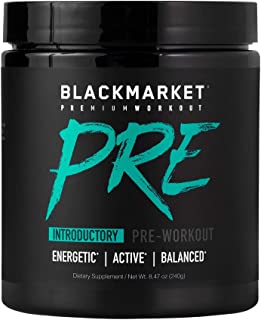 Blackmarket PRE Pre-Workout Dietary Supplement Powder - Energy Booster, Sports Drink, Muscle Fuel, Fruit Punch, 240 Gram