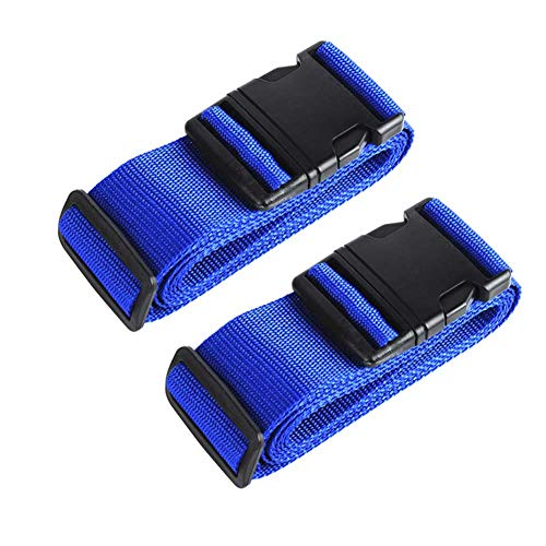 AVESON Pack of 2 Luggage Straps, 200cm Long Adjustable Luggage Strap Belts Travel Bag Accessories for 20'-32' Suitcase, Blue