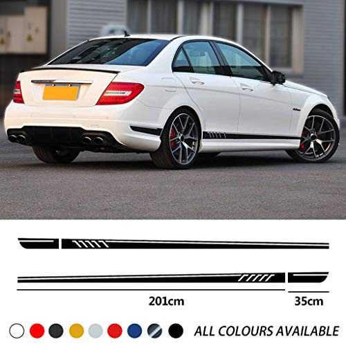 TYMDL 2 Pcs Coche Cuerpo Falda Lateral Rayas Pegatina para Mercedes Benz C Class W204 C63 Coupe S204 AMG All Models, Vinilo Calcomanía Carreras Estilo Decorativas Accesorios Impermeables
