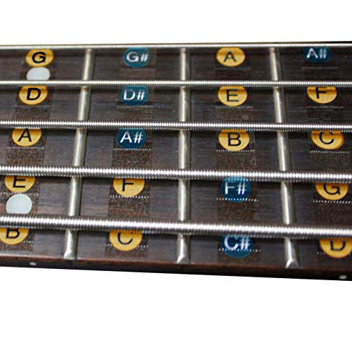 2PCS/PACK 4 cuerdas Guitarra bajo Balanzas pegatinas diapasón mástil Nota etiqueta pegatinas de traste para guitarra bass 30 * 7.5 cm Freeness
