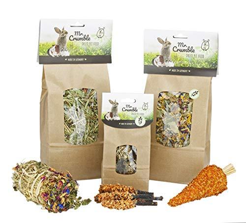 Mr. Crumble Dried Pet Food Großes Struktur-Futter-Set mit Heu und Leckerlis, getreidefrei - für Kaninchen, Meerschweinchen, Degus und Chinchillas