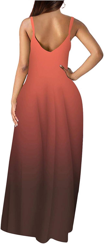 Wolddress Womens Casual Sleeveless Plus Size Loose Plain Long Maxi Dress with Pockets