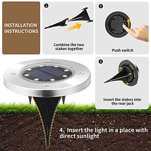 Solpex 8 Pack Solar Ground Lights, 8 LED Solar Powered Disk Lights Outdoor Waterproof Landscape Lawn Lighting for Garden Yard Deck Walkway Patio Pathway (White)