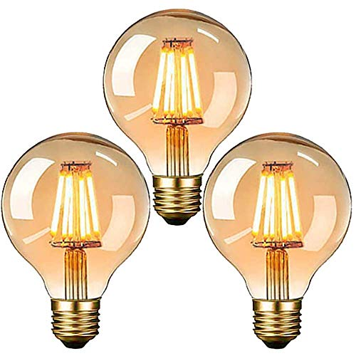 Edison Vintage Glühbirne, E27 LED Dekorative Antike Leuchtmittel Globe Birne, G80 6W warmweiß 2700K Filament Lampe, Amber Glas, Ideal für Nostalgie und Retro Beleuchtung (3 Stück)