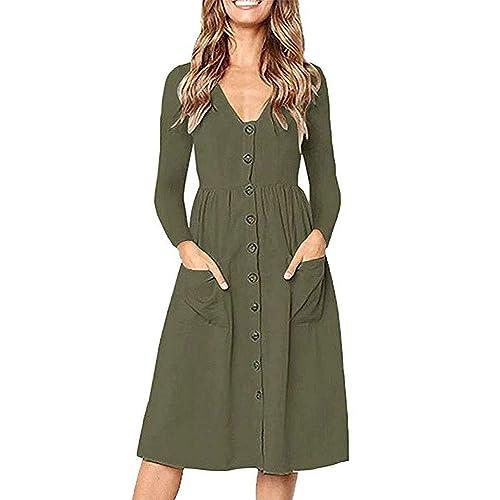 6d5ab9aab8f Casual Midi Dresses for Women V Neck T Shirt Dress Long Sleeve A-Line Swing