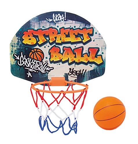 Simba 107406024 - Juego de Baloncesto con Soporte para Puerta y Tablero: 27,5 x 21 cm, Cesta con Red de 15 cm, diámetro de la Pelota 8,6 cm