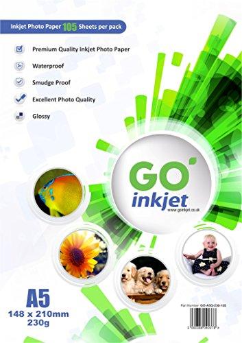 100 hojas de papel fotográfico Go Inkjet, con 5 hojas adicionales, tamaño A5, 230 g/m2, papel brillante blanco, resistente al agua, compatible con impresoras de inyección e impresoras fotográficas