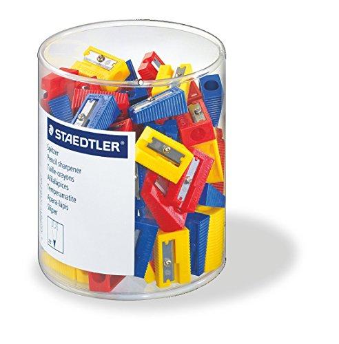 Staedtler 51050KP50 - Afilalápices de plástico para lápices de hasta 8,2 mm diámetro. Caja con 100 afilalápcies en colores surtidos