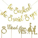 ??HE ASKED SHE SAID YES decoration set including?20pcs glitter gold cupcake topper,1pcs he asked banners,1pcs she said yes banner ??adequate quality and special design for bridal shower?They are made of premium cardboard with eco-friendly glitter pow...