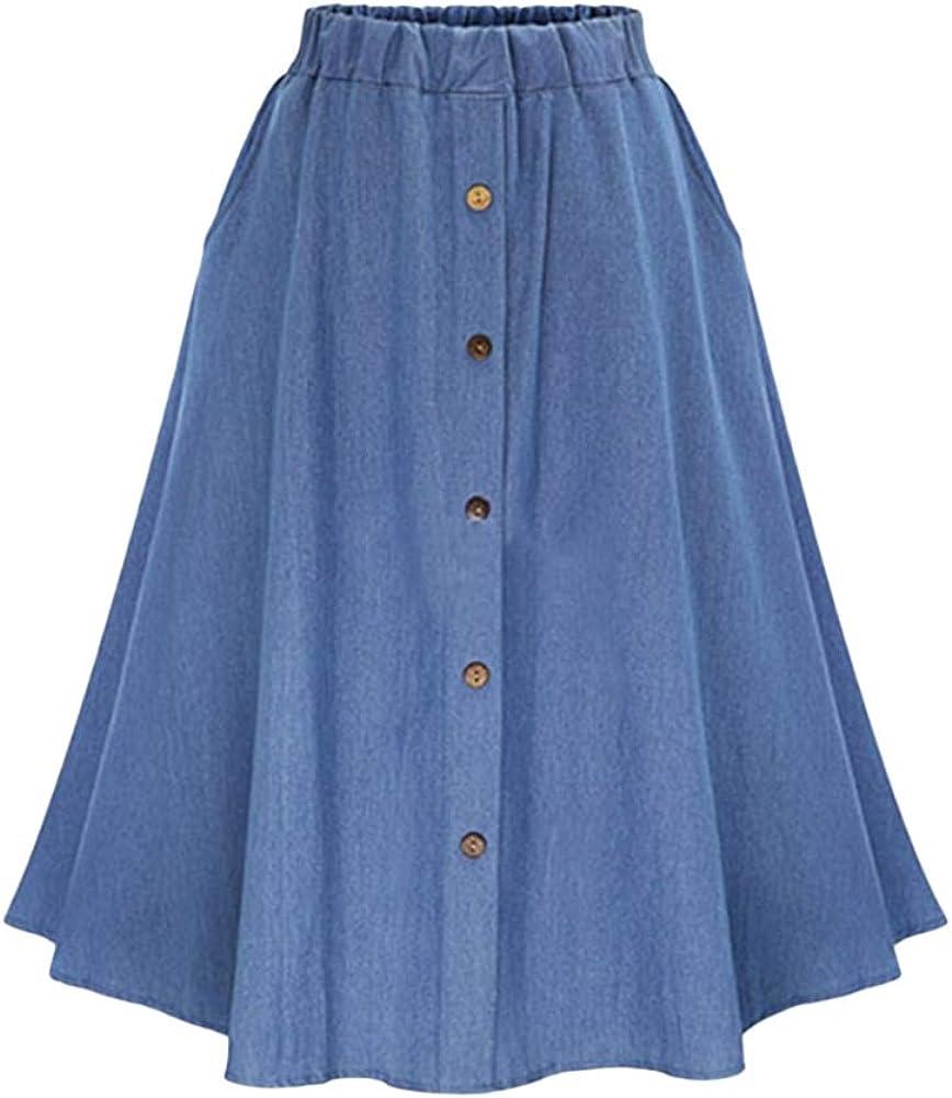 LoVnely Women Elastic Waist Front Button A-Line Midi Denim Skirt Casual Solid Long Swing Skirt