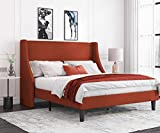 Allewie Queen Size Platform Bed Frame with Deluxe Wingback/Upholstered Bed Frame with Headboard/Wood Slat Support/Mattress Foundation/Burnt Orange(Queen)